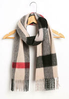 Feelily Unisex Plaid Tartan Tassel Cashmere Scarf With Gift Bag