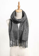 Feelily Unisex Gray Tassel Pashmina Scarf For Family
