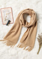 Feelily Classic Camel Tassel Cashmere Scarf For Women
