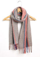 Feelily Color Block Striped Tassel Pashmina Scarf