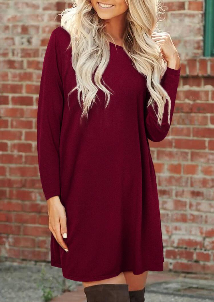 Criss-Cross Slash Neck Long Sleeve Mini Dress - Burgundy