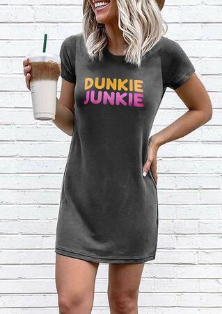Dunkie Junkie O-Neck Mini Dress - Dark Grey
