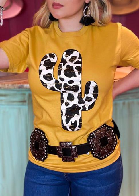 Western Cow Cactus O-Neck T-Shirt Tee - Yellow