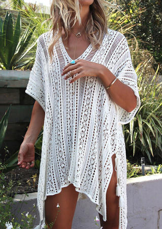 Hollow Out Lace Up Tassel Slit Cover Up - White