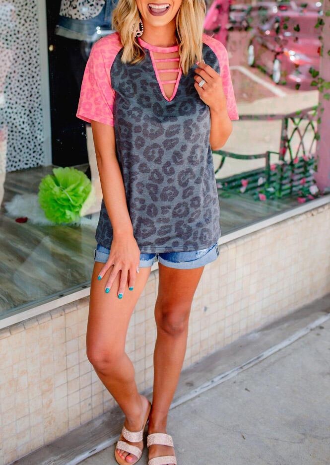 Leopard Hollow Out Raglan Sleeve T-Shirt Tee