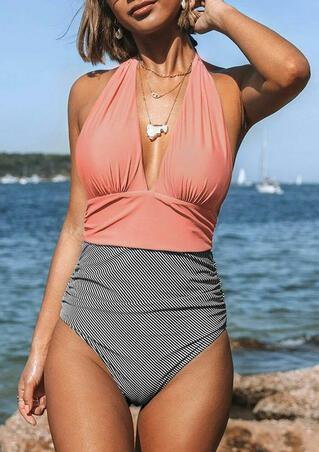 Ruffled Striped High Waist Halter One-Piece Swimsuit - Pink
