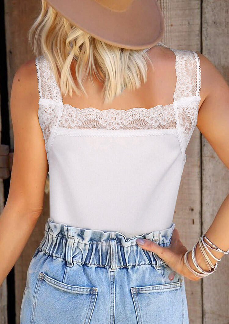 Lace Splicing Ruffled Casual Tank - White