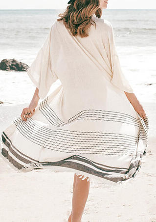 Striped Tassel Tie Flare Sleeve Cover Up - White