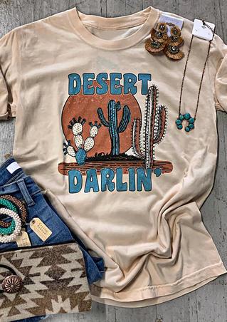 Desert Darlin Cactus O-Neck T-Shirt Tee - Apricot