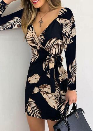 Leaf Wrap V-Neck Long Sleeve Bodycon Dress