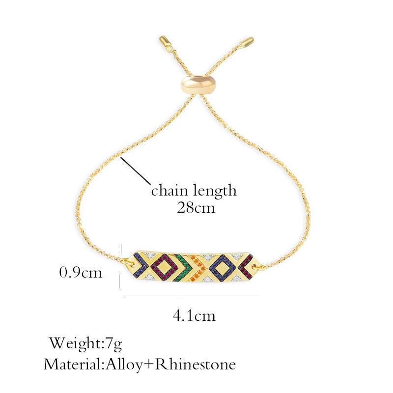 Aztec Tribal Geometric Colorful Rhinestone Bracelet
