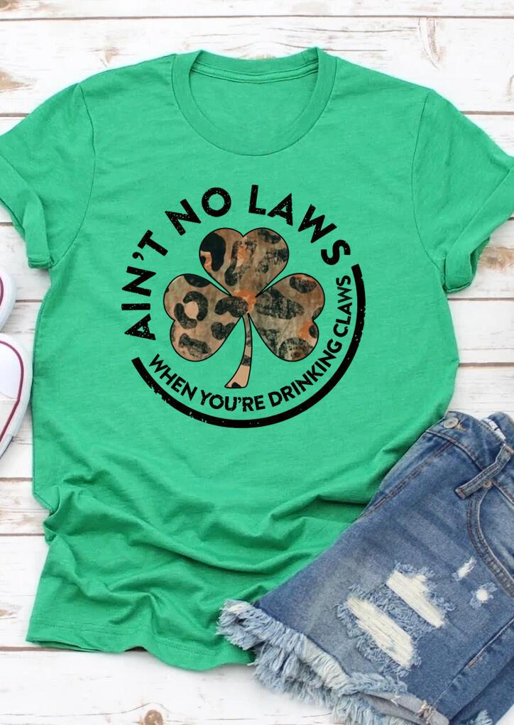 Leopard Lucky Shamrock Letter T-Shirt Tee - Green