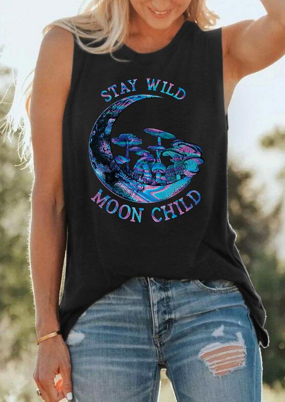 Stay Wild Moon Child Fungus Mushrooms Tank - Black