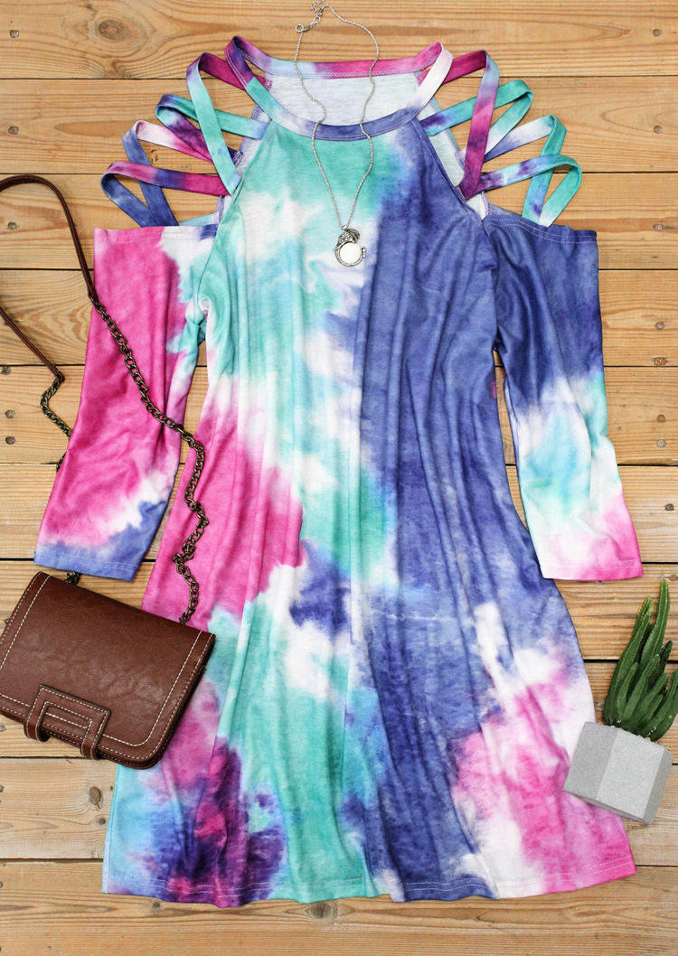 Tie Dye Criss-Cross ColdShoulder Mini Dress