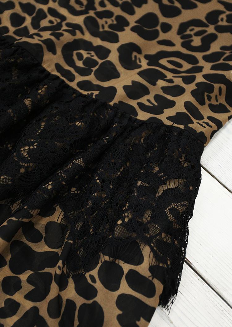 Leopard Lace Splicing Halter Sleeveless Midi Dress