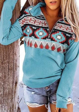 Aztec Geometric Zipper Collar Pullover Sweatshirt - Lake Blue