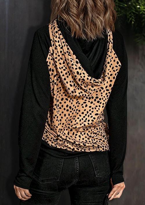Leopard Raglan Sleeve Drawstring Thumbhole Hoodie - Black