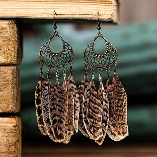 Leopard Feather Hollow Out Alloy Earrings