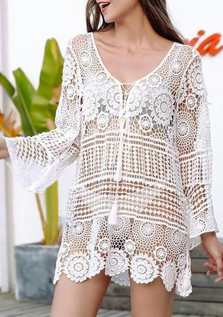 Hollow Out Lace Floral Tassel Tie Cover Up - White