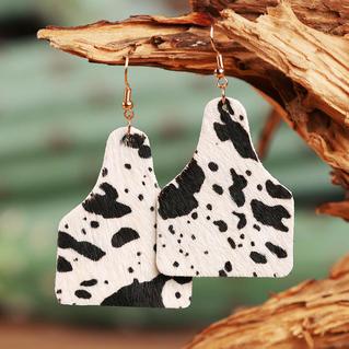 Western Cow Leather Pendant Earrings