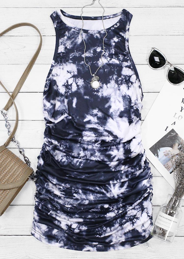Tie Dye Ruched Sleeveless Bodycon Dress - Navy Blue