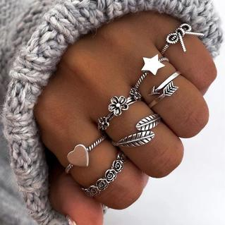 7Pcs Heart Bowknot Floral Star Feather Rings Set