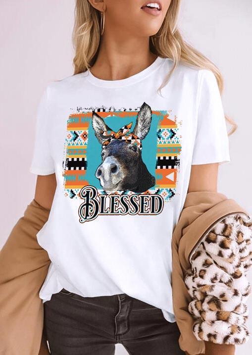 Aztec Geometric Donkey Blessed T-Shirt Tee - White