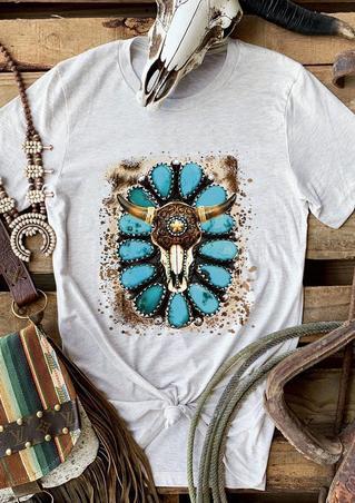 Steer Skull Turquoise Western T-Shirt Tee - Light Grey