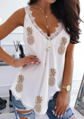 Pineapple Lace Trim V-Neck Casual Tank - White