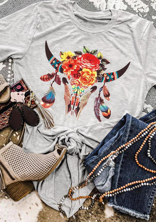 Western SteerSkull Feather Floral T-Shirt Tee - Light Grey