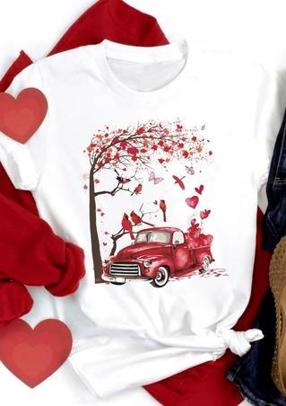 Cardinal Bird Love Heart Butterfly Jeep T-Shirt Tee - White