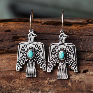 Vintage Turquoise Thunderbird Dangle Earrings - Silver