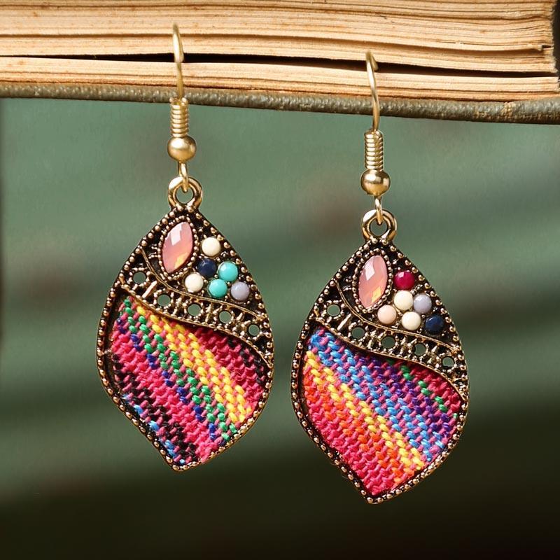 Rhinestone Colorful Striped Water Drop Earrings