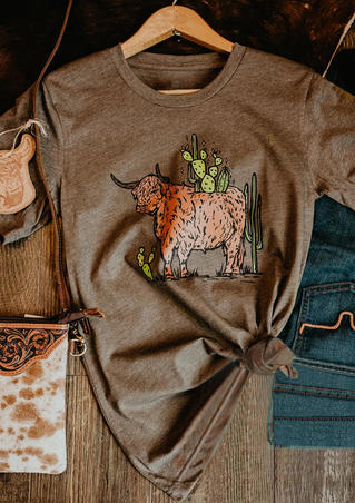 Highland Cattle Cactus O-Neck T-Shirt Tee - Brown