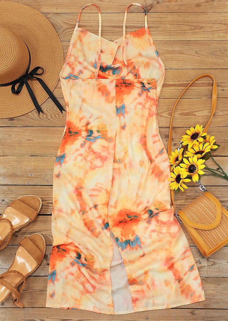 Tie Dye Slit Spaghetti Strap Casual Dress - Orange