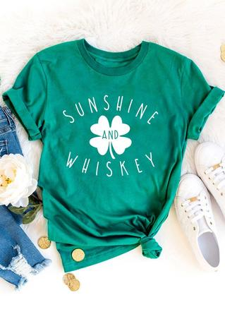 St. Patrick's Day Lucky Shamrock Sunshine And Whiskey T-Shirt Tee - Green