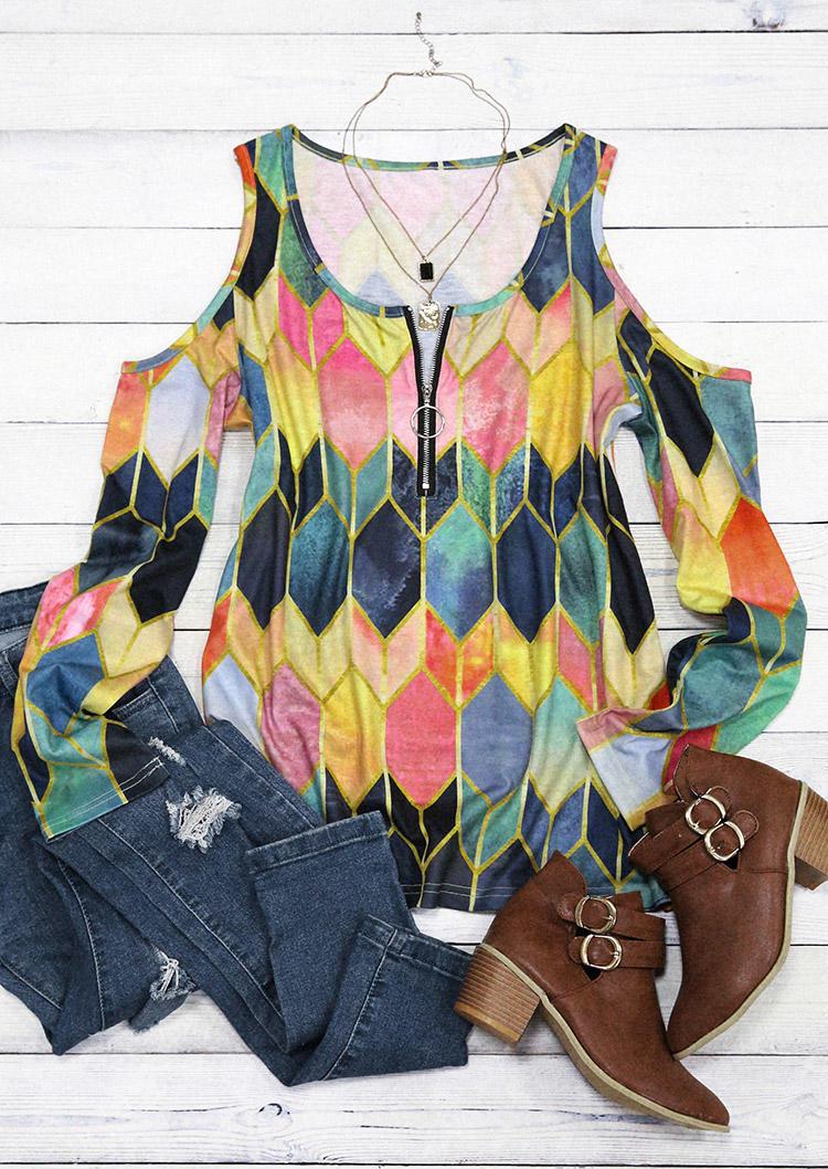 Colorful Geometric Zipper ColdShoulder Blouse
