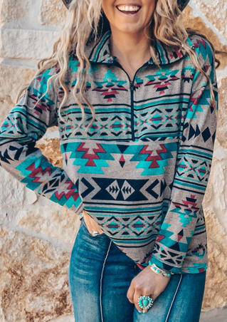 Aztec Geometric Western Zipper Collar Pullover Sweatshirt
