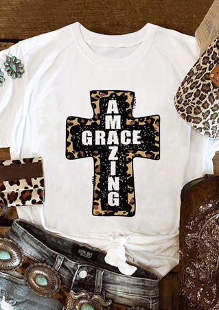 Amazing Grace Leopard Cross T-Shirt Tee - White