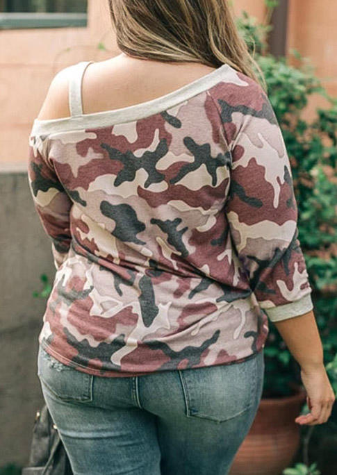 Plus Size Camouflage One Sided Cold Shoulder Blouse