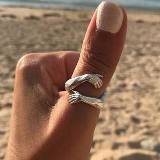Creative Hug Hands Open Adjustable Ring