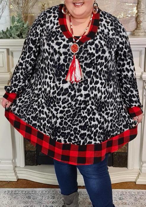 Plus Size Leopard Plaid Splicing Mini Dress