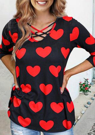 Heart Criss-Cross Long Sleeve Blouse - Red