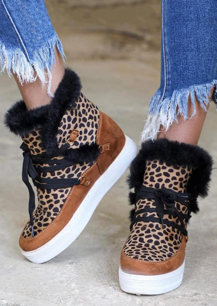 Leopard Lace Up Round Toe Platform Warm Plush Sneakers