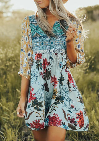 Floral Ethnic Style Geometric Splicing Mini Dress