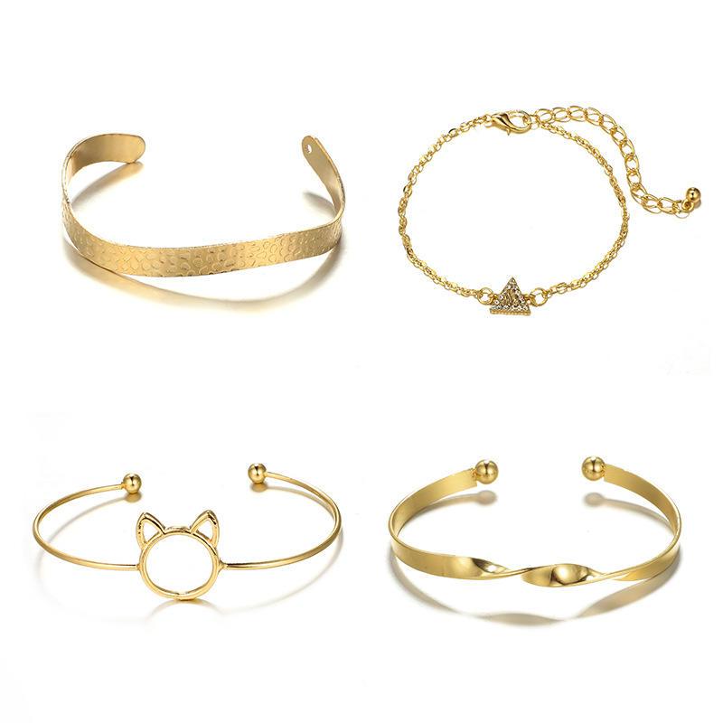 4Pcs Rhinestone Geometric Hollow Out Cat Twist Open Bracelet Set