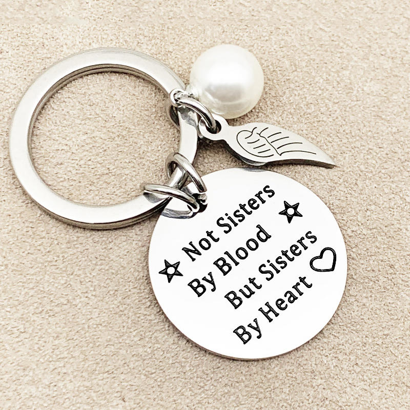 Not Sisters By Blood But Sisters By Heart Pearl Keychain