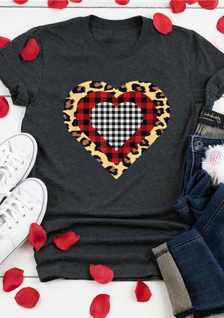Leopard Plaid Heart T-Shirt Tee - Dark Grey