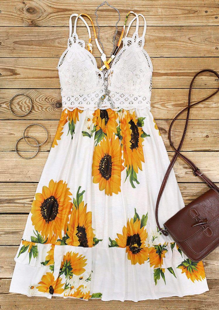Sunflower Lace Splicing Ruffled Spaghetti Strap Mini Dress - White
