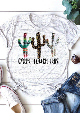 Leopard Can't Touch This Cactus T-Shirt Tee - White